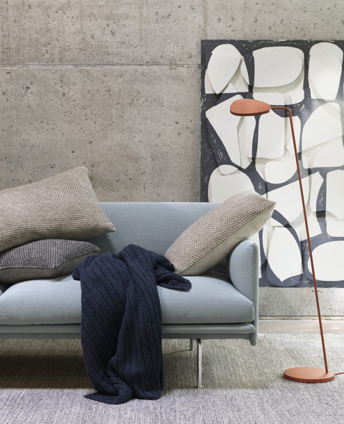 Leaf Floor Lamp in Copper next to Outline Sofa