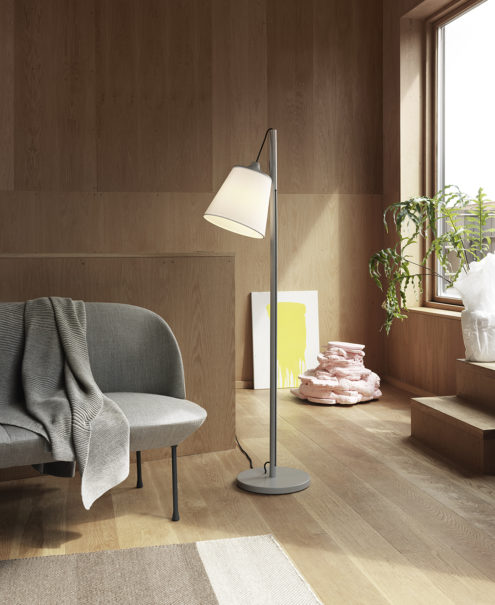 Pull Floor Lamp, Grey Oslo Sofa, Varjo Rug