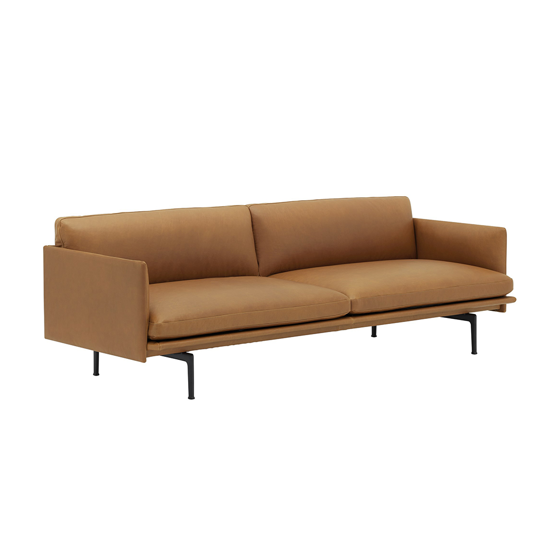 Outline 3-seater Cognac leather side view