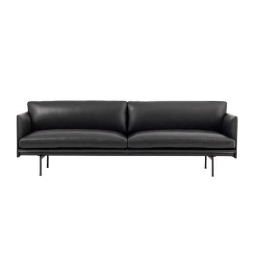 Outline 3-Seater Black Leather Black Powder-Coated Legs