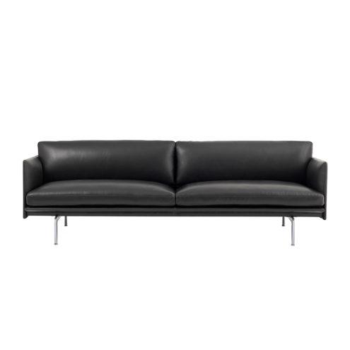 Outline 3-Seater Black Leather Aluminium Legs