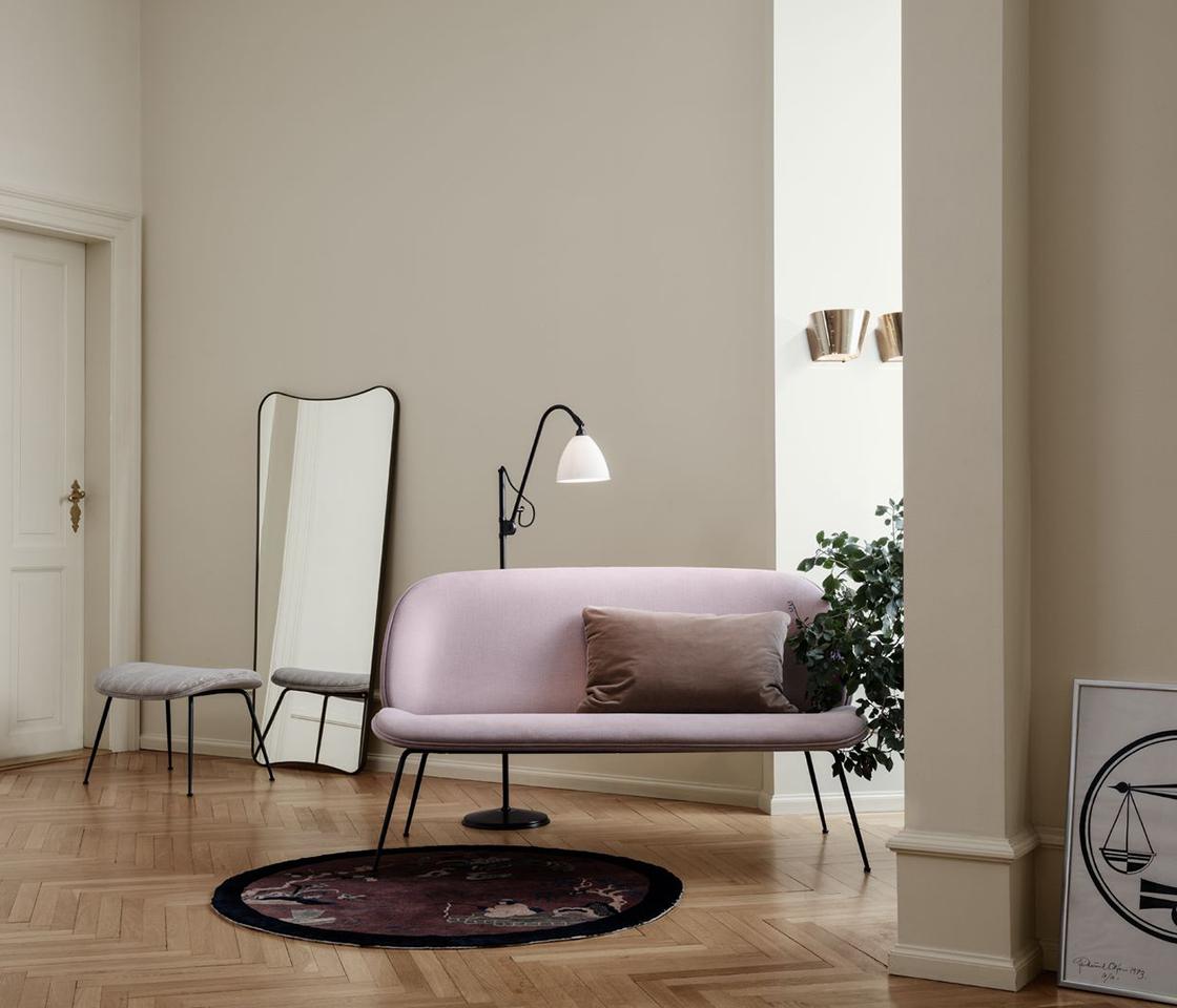 Beetle Sofa, BL3 Floor Lamp, 9464 Wall Lamp, A33 Wall Mirror, Beetle Ottoman