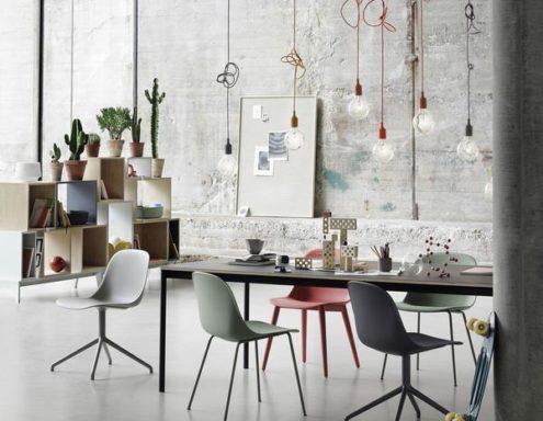 Fiber Side Chair Wood Base Textile