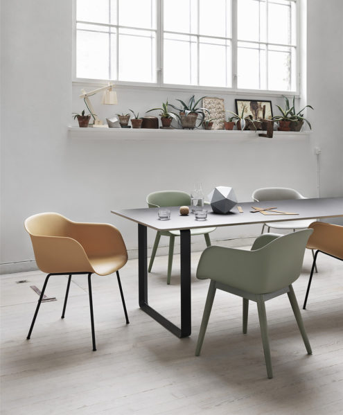 Fiber chairs & 70/70 table