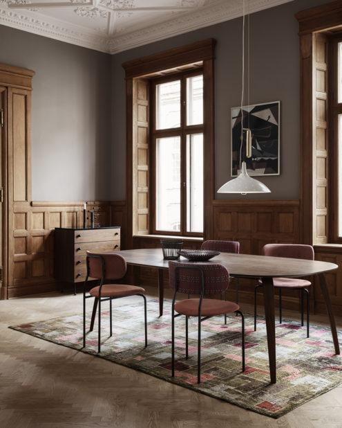 A1965 Pendant, Coco Dining Chair, GUBI Dining Table Elliptical, 62 Dresser, Mategot Flower Pot, Mategot Bowl