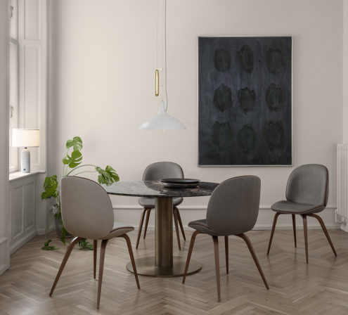 Beetle Dining Chair, A1965 Pendant, Gravity Table Lamp Small, Gubi2.0 Dining Table