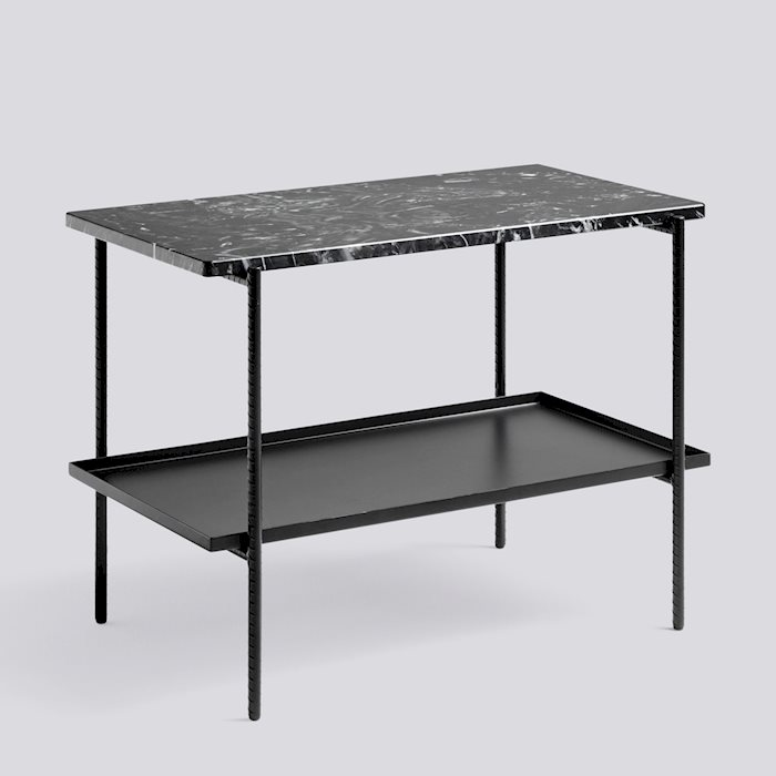 Black Marble And Silver Steel Square Coffee Table: Rebar Table