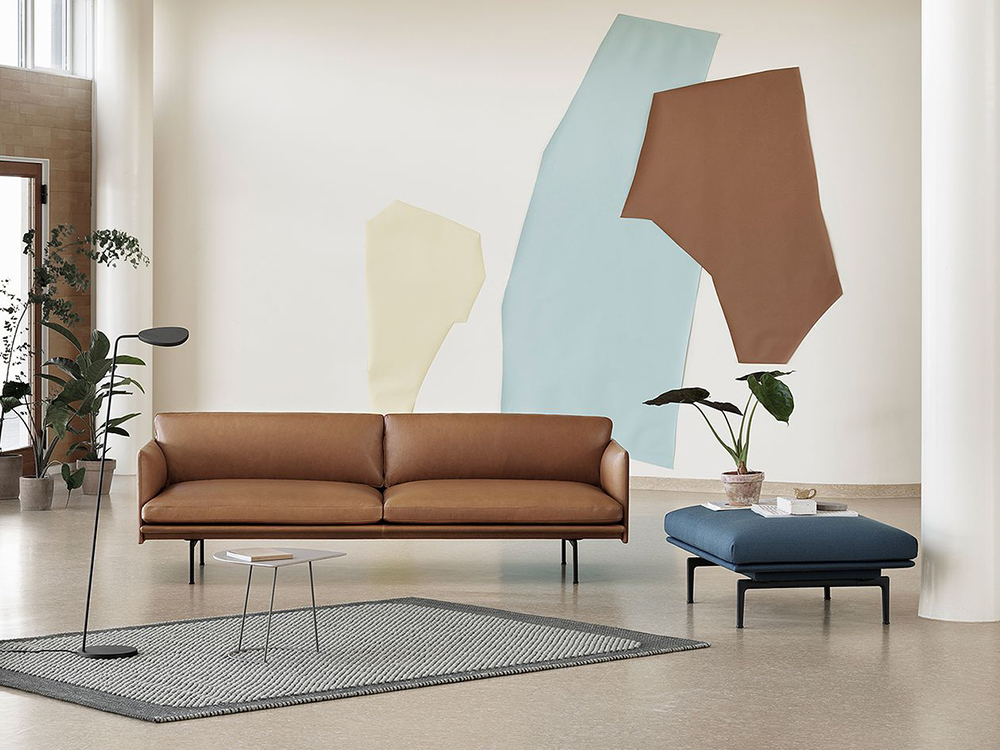 Anderssen & Vol's Outline Sofa, next to the Outline Ottoman and Leaf Floor Lamp
