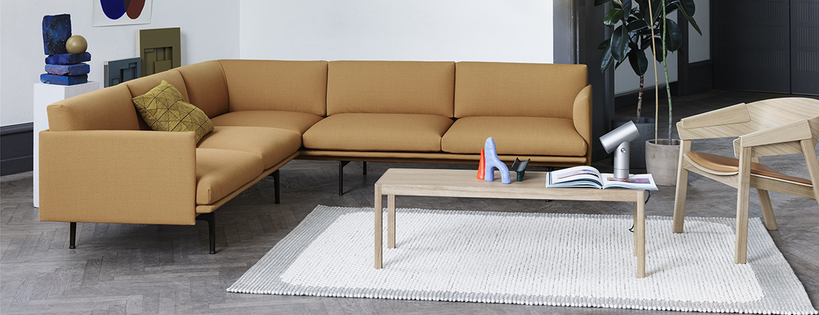 Outline Sofa, Pebble Rug, Linear Table & Cover Lounge Chair