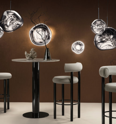 Fat Bar Stools, Melt Chrome LED - Mini, Surface, Mini Surface