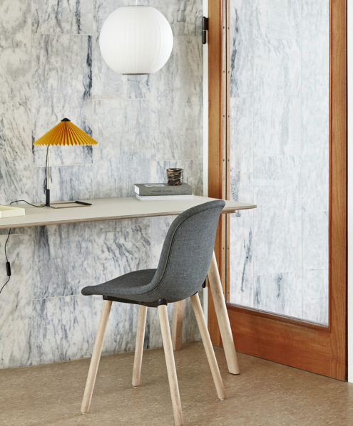 CPH 90 Desk off white linoleum, Neu 12 Remix 173 matt lacquered oak, George Nelson Ball Bubble Pendant, Martin yellow