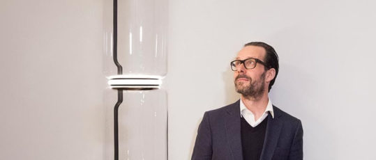 Konstantin Grcic with the Noctambule from FLOS