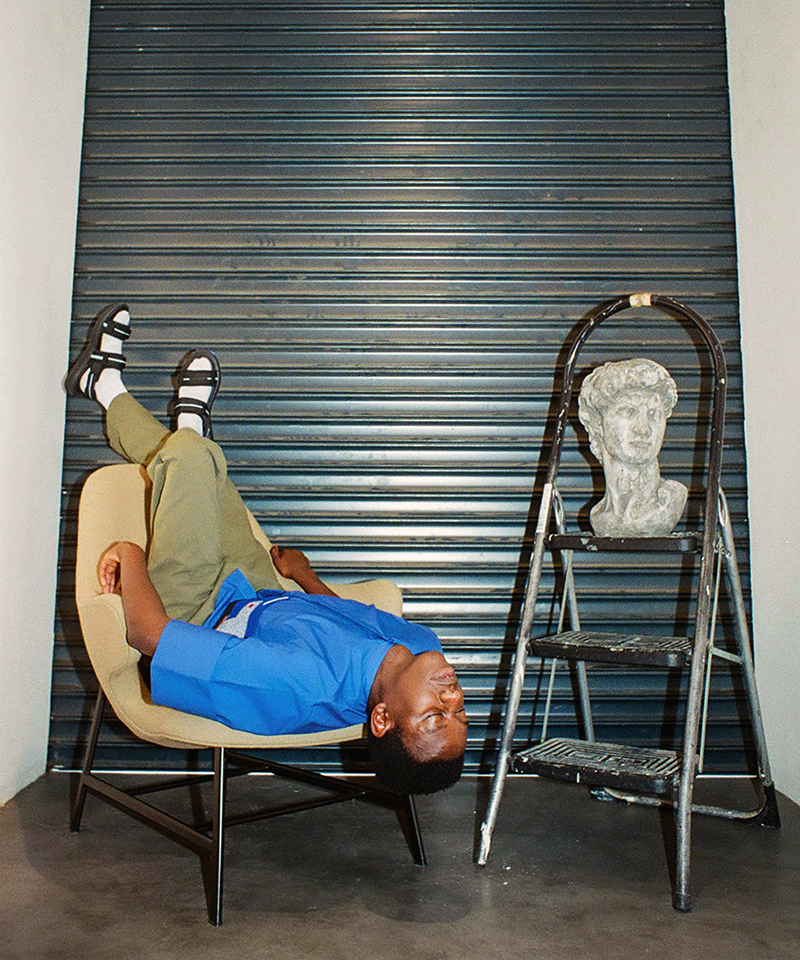 Terence, our third model, tries to get a new perspective in the Catch JH13 Armchair