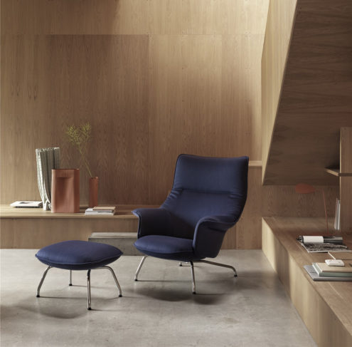 Doze Lounge Chair & Ottoman in blue & chrome