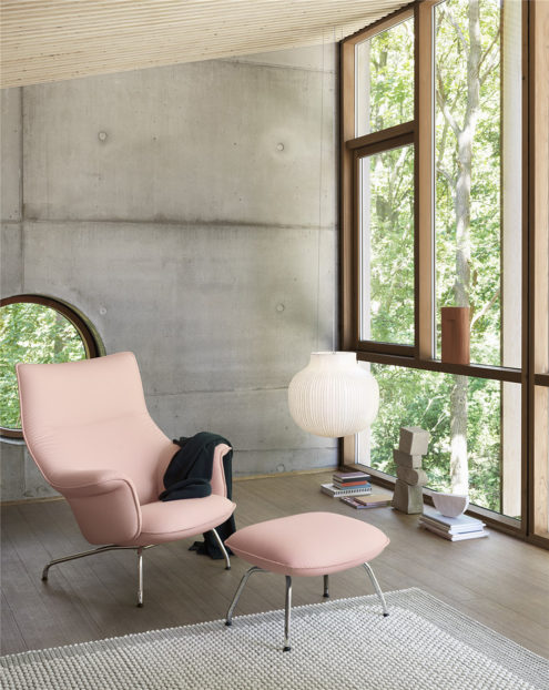 Doze Lounge Chair & Ottoman in Nude Pink, with Strand Pendant
