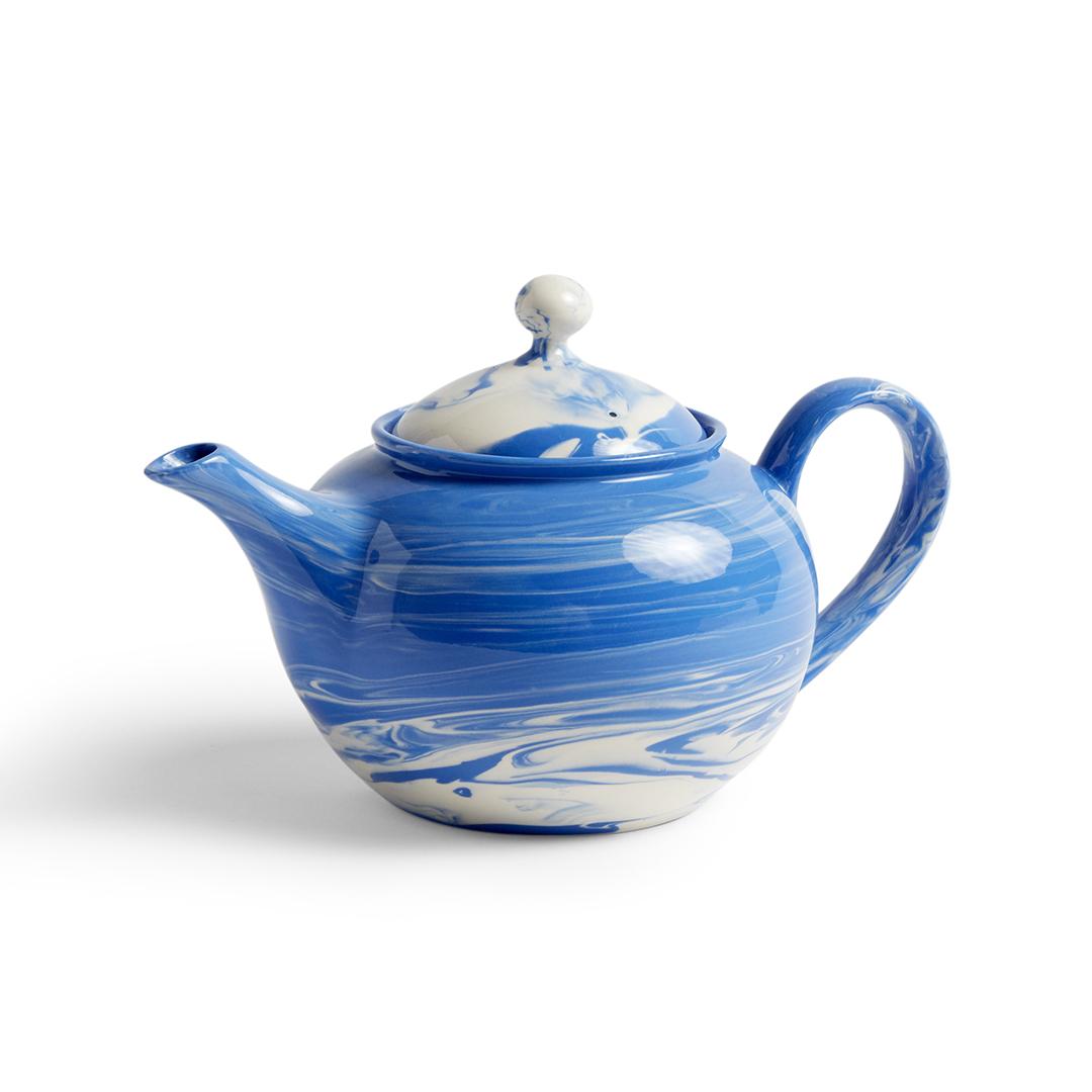 Marbled Tea Pot Blue