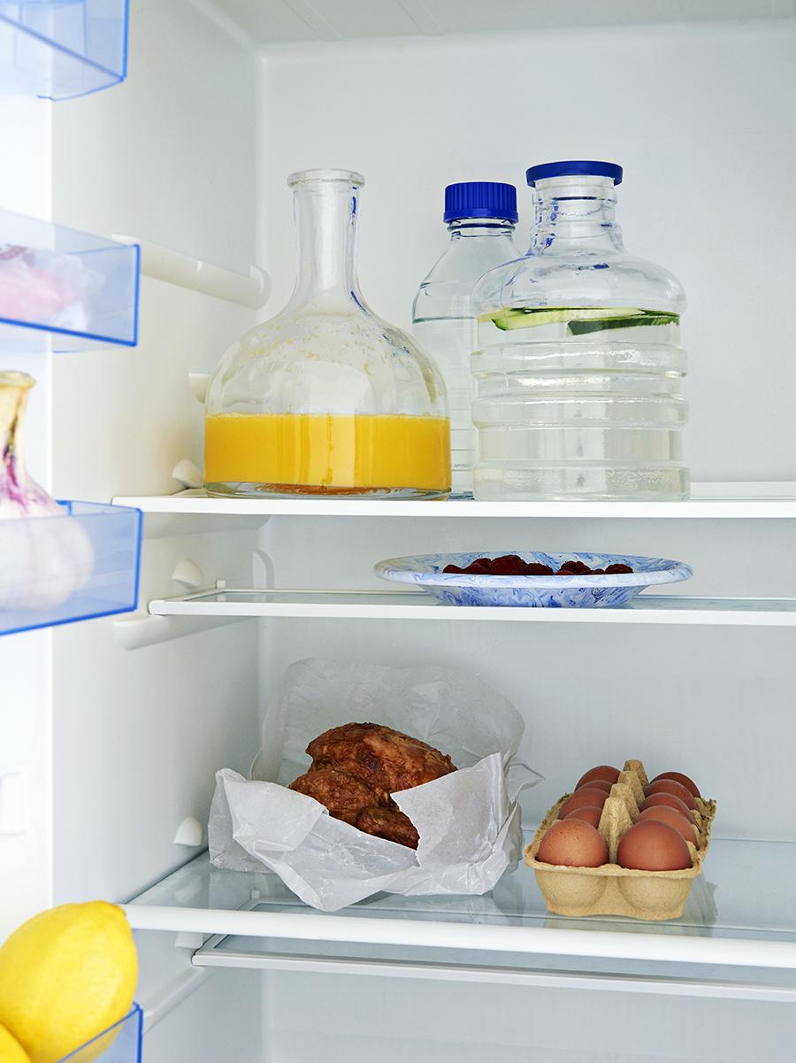 Blue Lid Carafe in fridge