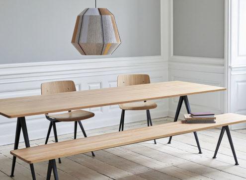 Bonbon Medium above Pyramid Table, Result chairs and Pyramid bench