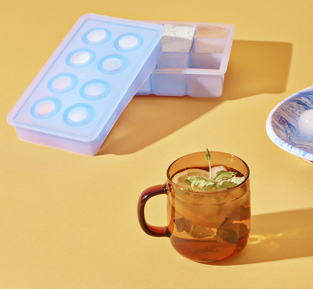 Borosilicate Mug Amber with Ice Cube dish