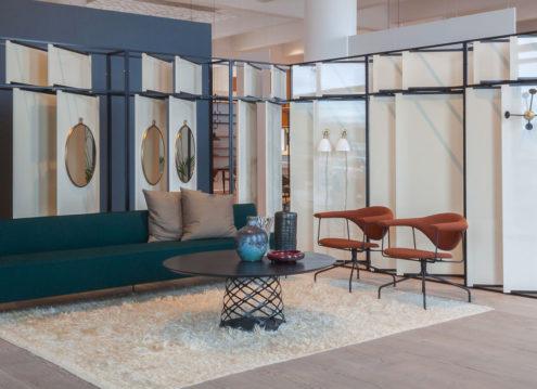 Modern Line Sofa, Masculo dining chairs, Aoyama Coffee Table - Gubi Showroom