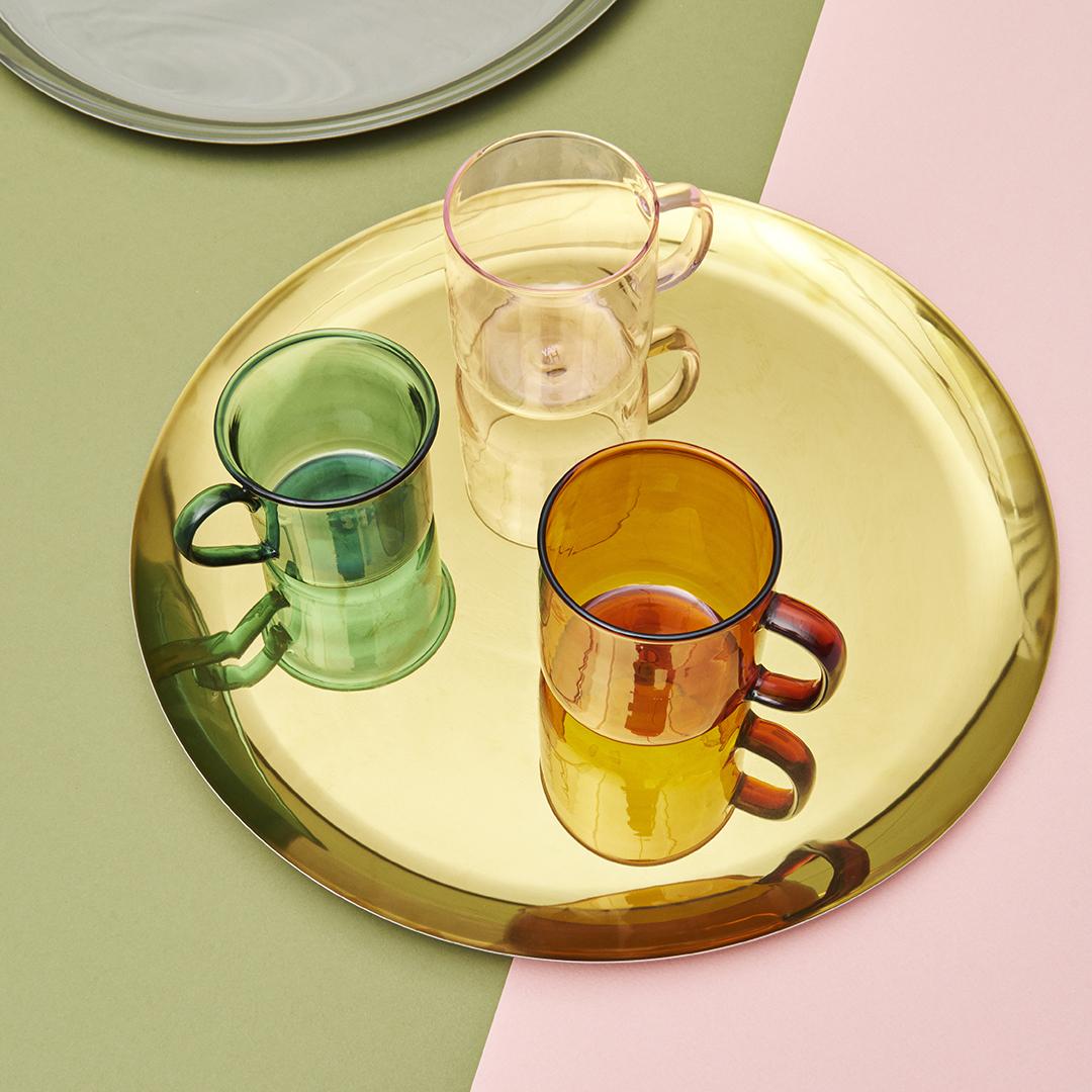 Borosilicate Mug Amber on Serving Tray